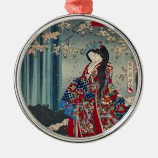 Ornement Rond Argenté Classique japonais de cool d'art de Madame Japon