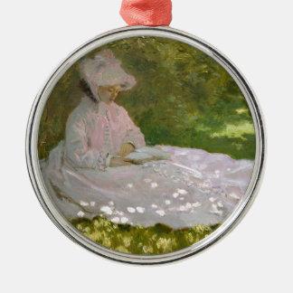 Ornement Rond Argenté Claude Monet - oeuvre d'art de printemps