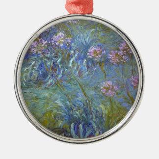 Ornement Rond Argenté Claude Monet - peinture classique de fleurs