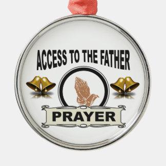 Ornement Rond Argenté cloches de l'accès de prière