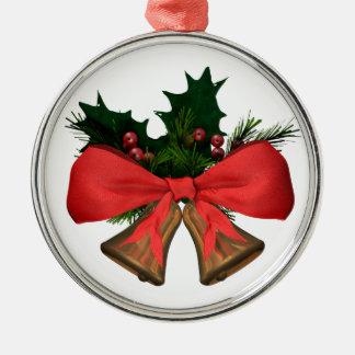 Ornement Rond Argenté cloches de Noël