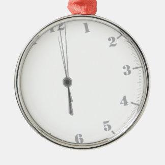 Ornement Rond Argenté Clockface de minuit