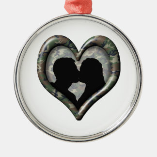 Ornement Rond Argenté Coeur de baiser de couples de Camo