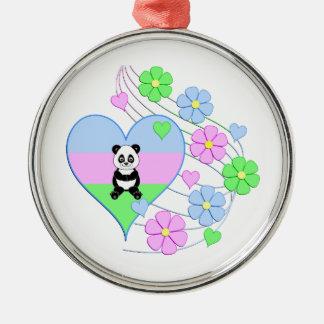 Ornement Rond Argenté Coeur de panda d'amusement