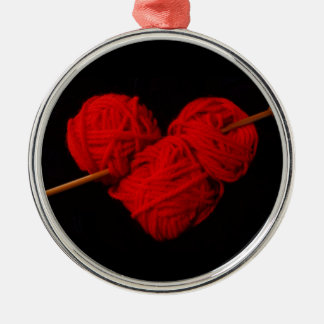 Ornement Rond Argenté Coeur mignon de laine avec la photographie