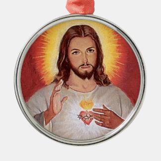 Ornement Rond Argenté Coeur sacré de Jésus