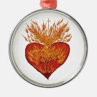 Ornement Rond Argenté Coeur sur le feu