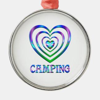 Ornement Rond Argenté Coeurs de camping
