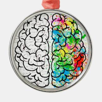 Ornement Rond Argenté coeurs d'idée de psychologie d'esprit de cerveau
