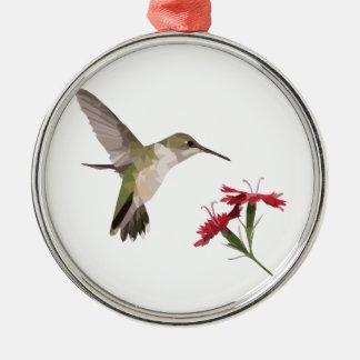 Ornement Rond Argenté Colibri et fleur