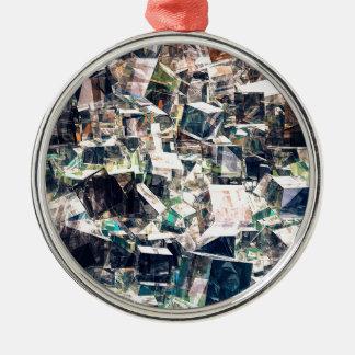 Ornement Rond Argenté Collection chaotique de cubes