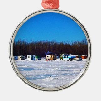 Ornement Rond Argenté Collection de pêche de glace