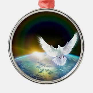 Ornement Rond Argenté Colombe de Saint-Esprit de paix au-dessus de la
