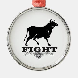 Ornement Rond Argenté combat de taureau noir
