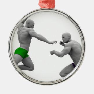 Ornement Rond Argenté Concept d'arts martiaux pour le combat et la