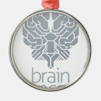 Ornement Rond Argenté Concept de cerveau