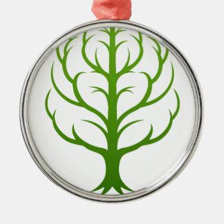 Ornement Rond Argenté Concept de cerveau d'arbre