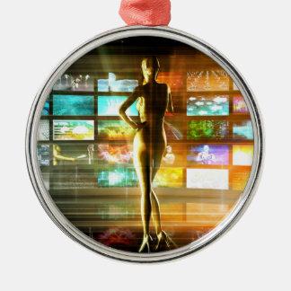 Ornement Rond Argenté Concept de technologies de médias comme mur visuel