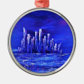 Ornement Rond Argenté Conception bleue urbaine de Jane Howarth