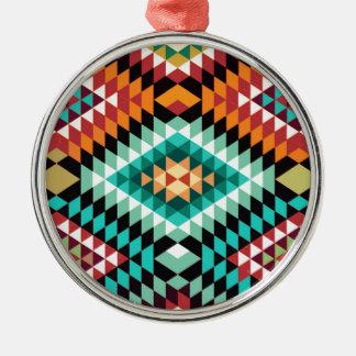 Ornement Rond Argenté Conception colorée de motif africain