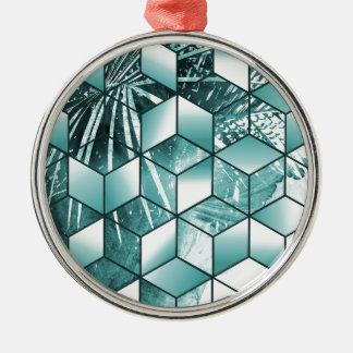 Ornement Rond Argenté Conception cubique tropicale de palmettes d'effet