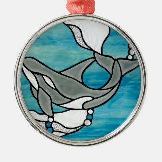 Ornement Rond Argenté Conception d'art en verre souillé de baleine