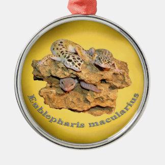 Ornement Rond Argenté Conception de gecko de léopard pour tous !