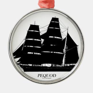 Ornement Rond Argenté conception de noir de bateau de pequod