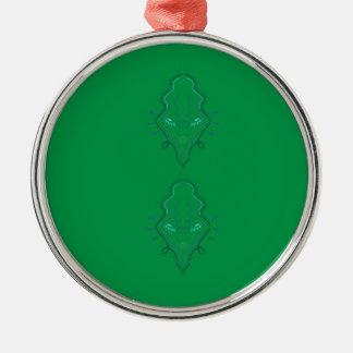 Ornement Rond Argenté Conception de vert d'émeraudes