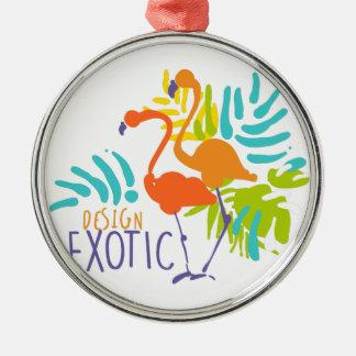 Ornement Rond Argenté Conception exotique de logo avec des oiseaux de