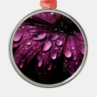 Ornement Rond Argenté conception florale d'art de baisses de pluie