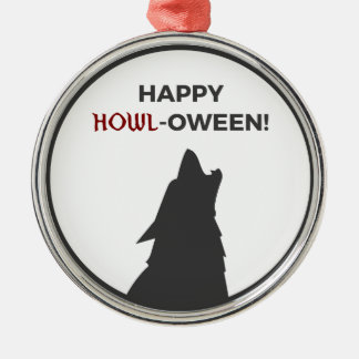Ornement Rond Argenté Conception heureuse de Halloween de loup-garou