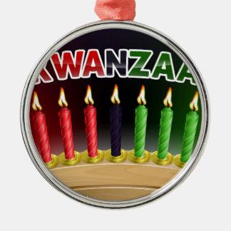 Ornement Rond Argenté Conception heureuse de Kwanzaa