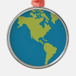 Ornement Rond Argenté Conceptions de continents du monde de la terre de