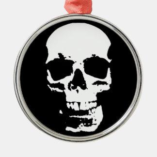 Ornement Rond Argenté Cool élégant de bruit de crâne noir et blanc d'art