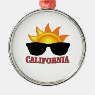 Ornement Rond Argenté cool rouge de la Californie