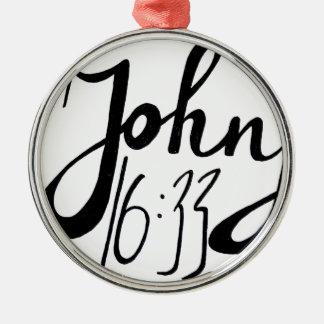 Ornement Rond Argenté Copie biblique de citation de 16h33 de John