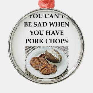 Ornement Rond Argenté côtelettes de porc