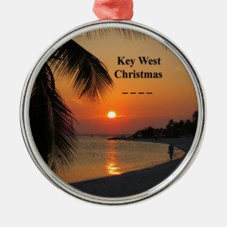 Ornement Rond Argenté Coucher du soleil de Key West