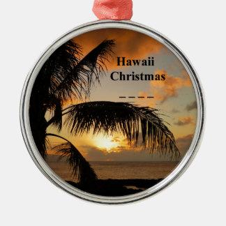 Ornement Rond Argenté Coucher du soleil d'Hawaï