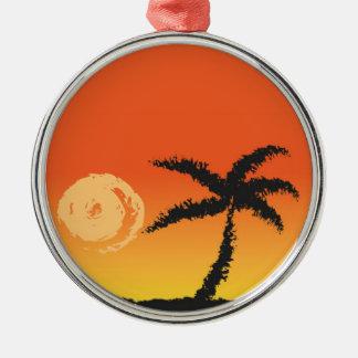 Ornement Rond Argenté Coucher du soleil d'île