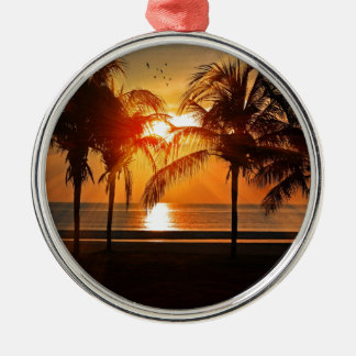 Ornement Rond Argenté Coucher du soleil tropical