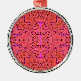 Ornement Rond Argenté Couleurs au néon vibrantes roses oranges modernes