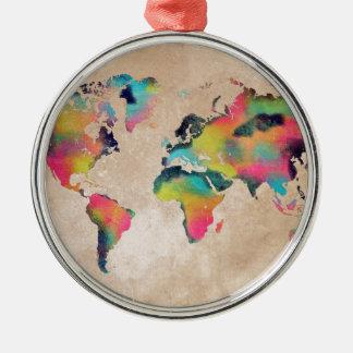 Ornement Rond Argenté couleurs de carte du monde
