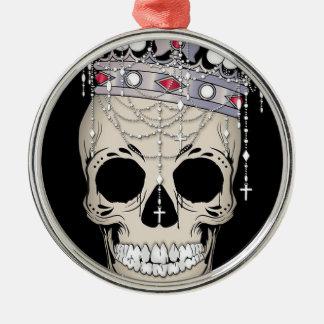 Ornement Rond Argenté Couronne d'horreur de Halloween de cadre d'os de