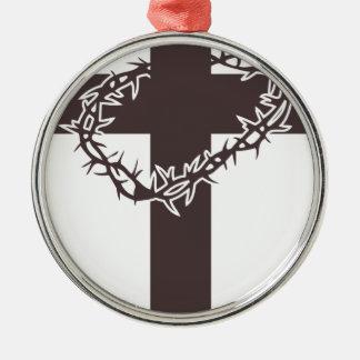 Ornement Rond Argenté couronne du Christ des épines croisée