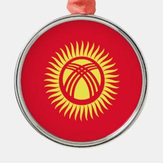 Ornement Rond Argenté Coût bas ! Drapeau du Kirghizistan