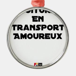 Ornement Rond Argenté COVOITURAGE EN TRANSPORT AMOUREUX - Jeux de mots