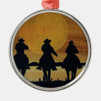 Ornement Rond Argenté cowboys et chevaux