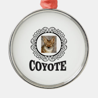 Ornement Rond Argenté coyote rond